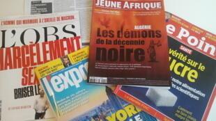 Capas de magazines news franceses de 21 de outubro de 2017