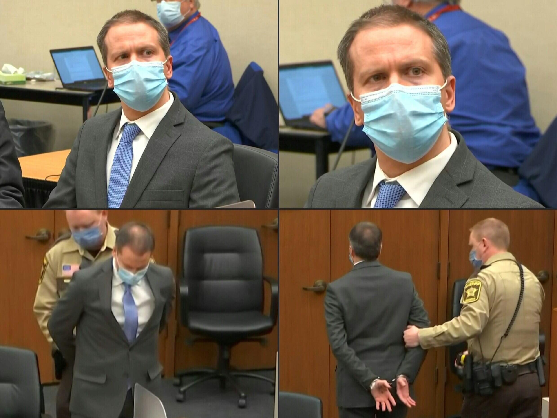 Una secuencia de imágenes del 20 de abril de 2021 del expolicía de Minneapolis Derek Chauvin durante su juicio por el crimen de George Floyd,