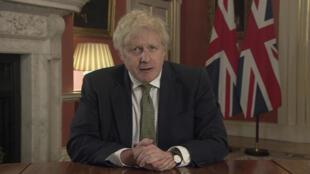 Le Premier ministre britannique Boris Johnson lors de son allocution télévisée du 4 janvier 2020.