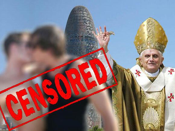 Cartaz do protesto contra o papa Bento 16 em Barcelona