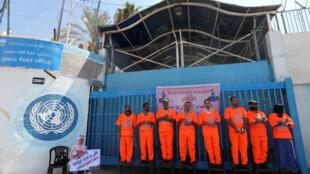 Des employés de l'UNRWA demandent à l'agence de renoncer à la vague de suppression de postes, le 1er octobre 2018.
