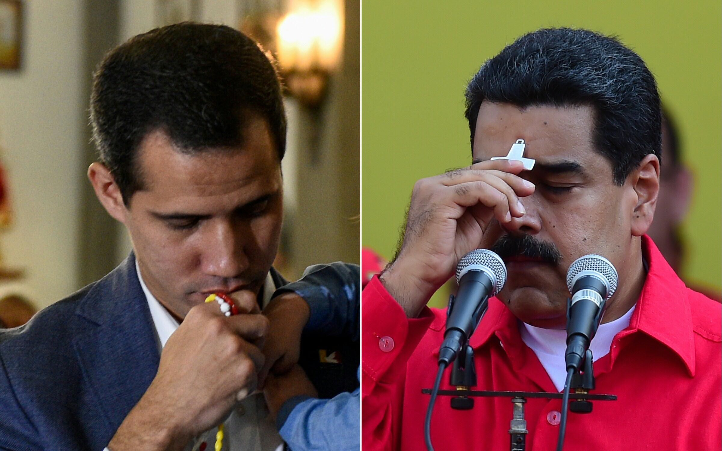Juan Guaidó y Nicolás Maduro, en imágenes del 14 de febrero y del 10 de febrero de 2019, respectivamente, en Caracas