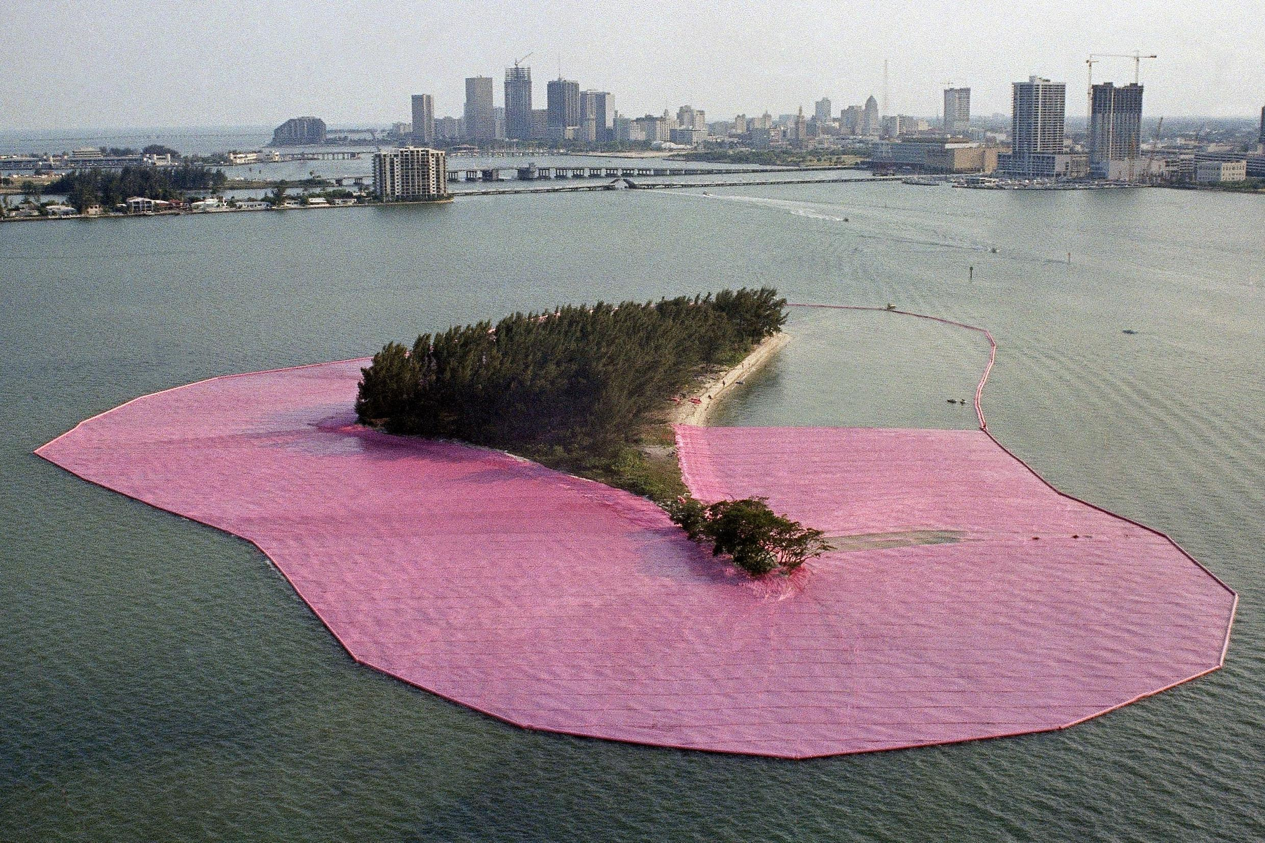 """""""Surrounded Islands"""" by artist Christo, in the process of being installed in Miami, Florida in 1983."""