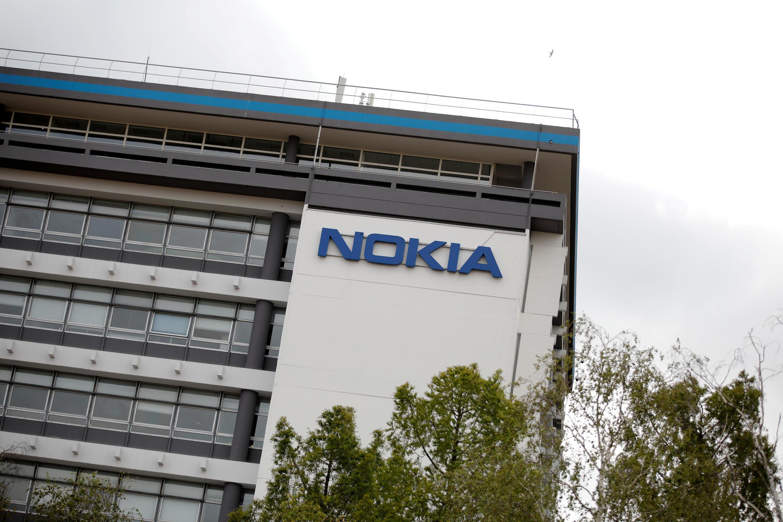 Logo tập đoàn viễn thông Phần Lan Nokia tại cơ sở Paris-Saclay Pháp) của hãng này. Ảnh chụp ngày 30/06/2020.