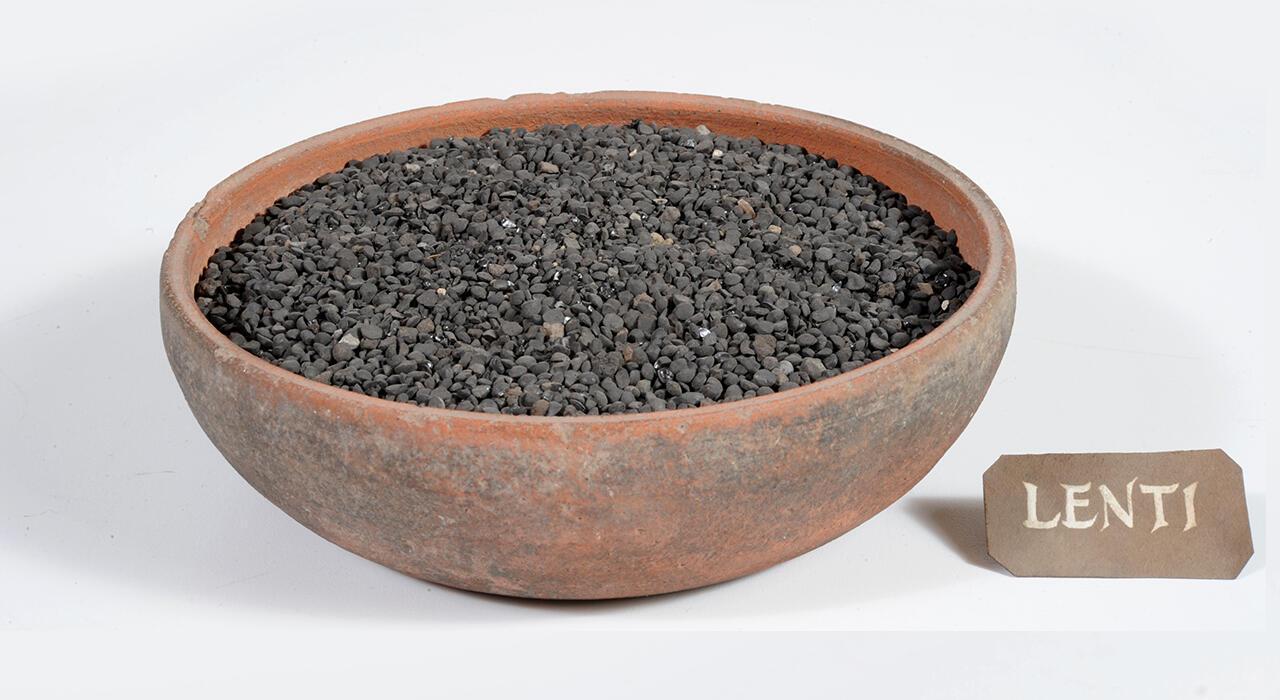 Чечевица, найденная при раскопках в Помпеях.