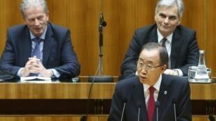 Katibu Mkuu wa Umoja wa Mataifa Ban Ki-moon alihutubia Bunge la Austria tarehe 28 Aprili, akijibu sera ya kuzuia wimbi la wahamiaji katika nchi hii.