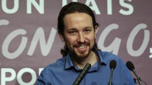 Pablo Iglesias, líder  do  Podemos .21 de Dezembro 2015