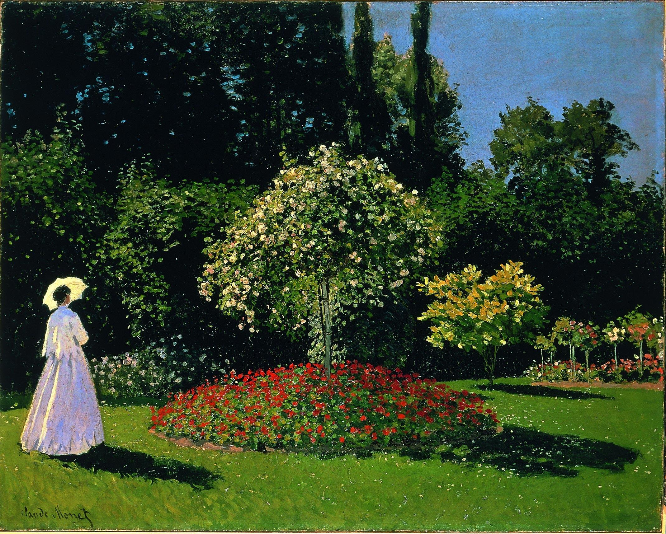 Клод Моне. Дама в саду Сент-Адресс. 1867 г. Холст/масло. 82x101 см. Эрмитаж, Санкт-Петербург.