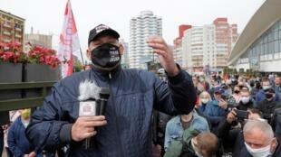 Le blogueur et opposant bielorusse Sergueï Tikhanovski lors d'un rassemblement de partisans de l'opposition, le 24 mai à Minsk.