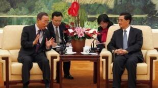 联合国秘书长潘基文与中国国家主席胡锦涛2010年11月1日北京