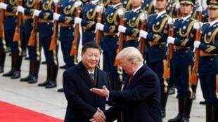 中国国家主席习近平2017年11月9日隆重欢迎美国总统特朗普到访。