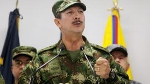 El general Nicacio Martínez en una conferencia de prensa, en Bogotá, el pasado 20 de mayo de 2019.