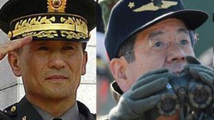 Les ministres sud-coréen de la Défense Kim Kwan-Jin (G) et son homologue japonais Toshimi Kitazawa (D).