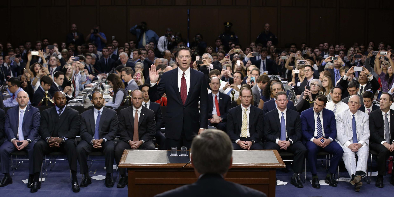 Cuộc điều trần của cựu giám đốc FBI James Comey tại Ủy Ban Tình Báo Thượng Viện Hoa Kỳ, Washington, ngày 08/06/2017.