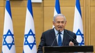 El primer ministro israelí Benjamin Netanyahu, el 30 de mayo de 2021 en el parlamento en Jerusalén