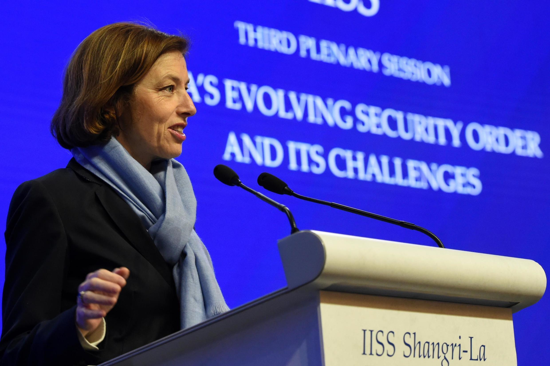 Bộ trưởng Quốc Phòng Pháp Florence Parly phát biểu tại hội nghị Shangri-La, Singapore, ngày 01/06/2019.