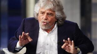 Beppe Grillo, lors d'un débat diffusé sur la télévision italienne, le 19 mai 2014.