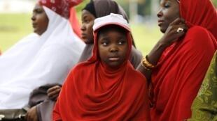 Des militants du collectif #BringBackOurGirls, à Abuja, lors d'une manifestation, le 21 août 2015.
