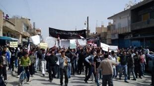 Manifestation à Qamishli, au nord-est de la Syrie, le 1er avril 2011, au début du mouvement de contestation en Syrie.