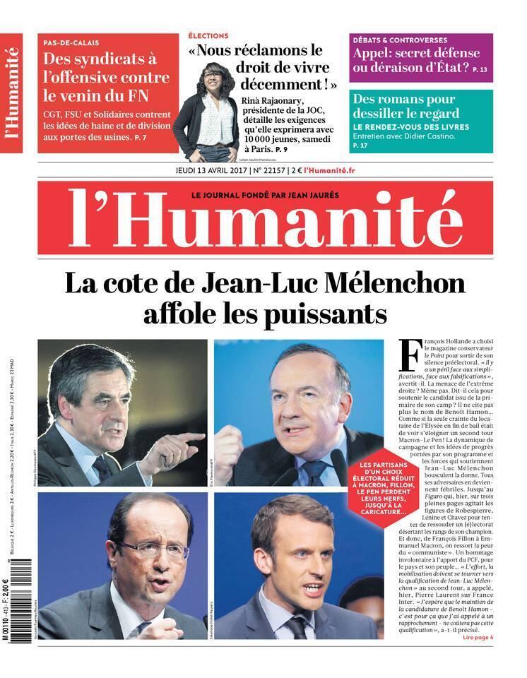 """صفحه اول روزنامه """"هومنیته""""، پنجشنبه ١٣ آوریل ٢٠۱٧"""