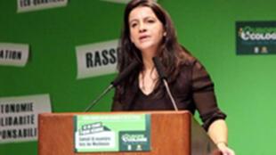 Cécile Duflot, secrétaire nationale des Verts, le 14 novembre 2009 à Issy-les-Moulineaux.