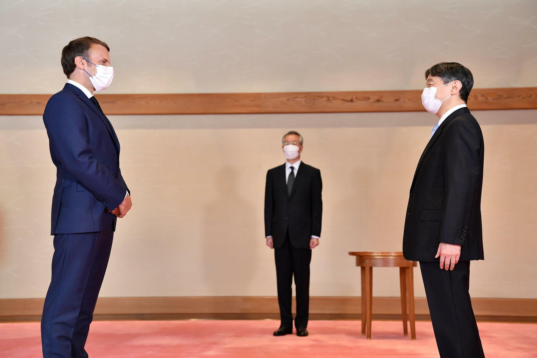 馬克龍與日本德仁天皇見面,攝於7月23日