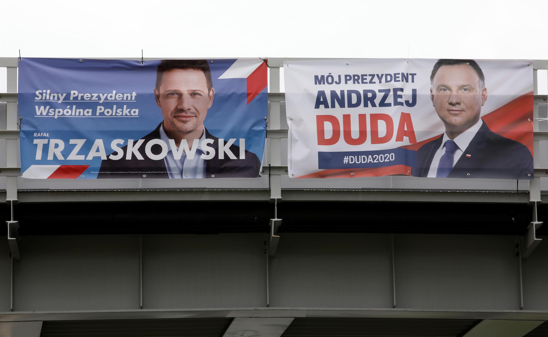 Rafal Trzaskowski  e Andrzej Duda, candidatos na segunda volta da eleição presidencial polaca, que decidirá o futuro do governo conservador  liderado pelo partido Lei e Justiça.