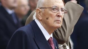Giorgio Napolitano, photographié à Rome ce mercredi 14 janvier 2015, à son départ du palais présidentiel.