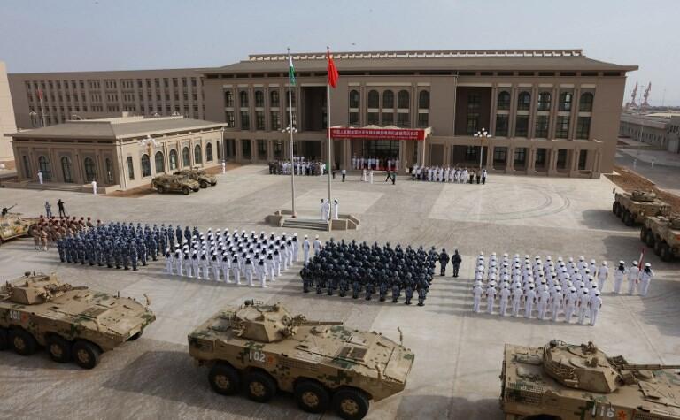Photo prise le 1er août 2017 lors de l'inauguration de la base militaire chinoise de Djibouti.