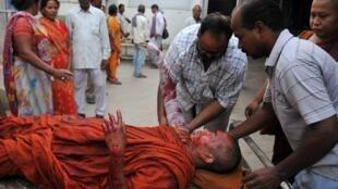 Deux moines ont été blessés dans l'explosion de huit bombes dans le temple de Bodh Gaya, le 7 juillet 2013.