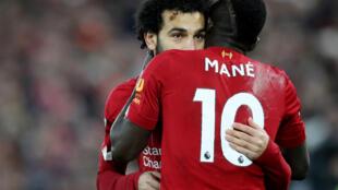 Mohamed Salah et Sadio Mané (Liverpool), lors d'un match contre Manchester City, le 10 novembre 2019.
