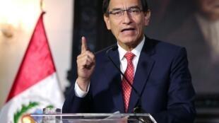 Le président péruvien lors de son intervention télévisée du 10 septembre 2020 à propos de la crise politique.