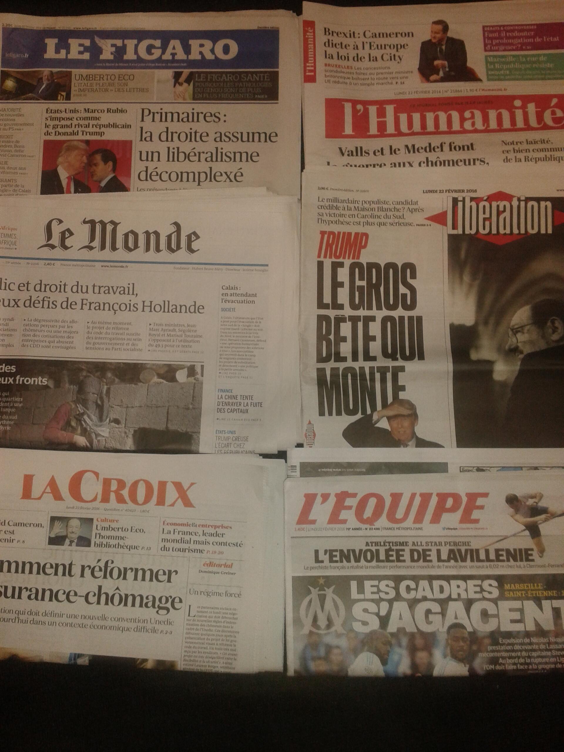 Imprensa francesa do dia 22.2.2016