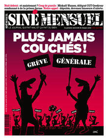 A front page of Siné Mensuel, calling for a general strike