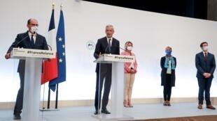 Le Premier ministre Jean Castex et le ministre de l'Economie, Bruno Le Maire, au premier plan, le 3 septembre 2020.