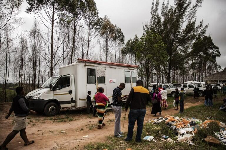 Um centro móvel de detecção da aids da organização Médicos Sem Fronteiras, em novembro de 2014