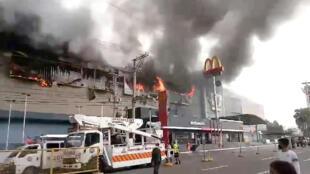 ساختمان محل آتش سوزی در شهر داوائو در جنوب فیلیپین.