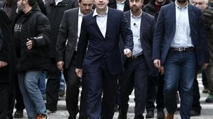 Greek Prime Minister Alexis Tsipras with his cabinet