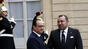 French President François Hollande and Morocco's King Mohammed VI  at the Elysée on Monday