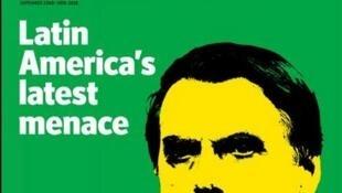"""Jair Bolsonaro é capa da revista britânica The Economist: """"ameaça latino-americana""""."""