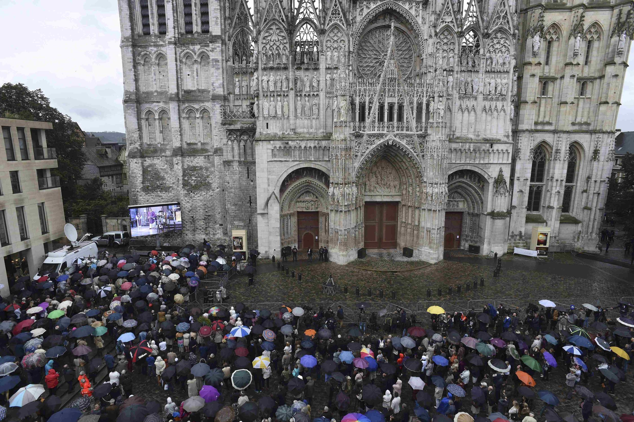 Mourners at Rouen Cathedral for a service in memory of Father Jacques Hamel
