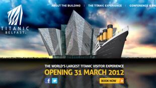 Capture d'écran du site du nouveau musée Titanic qui ouvrira le 31 mars à Belfast.