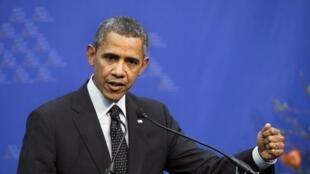 Le président américain Barack Obama lors de la conférence de presse de clôture du sommet sur la sécurité nucléaire. La Haye, le 25 mars 2014.