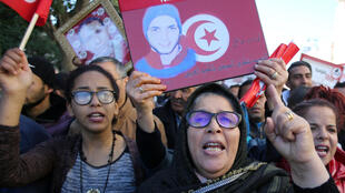 People attend demonstrations on the seventh anniversary of the toppling of president Zine El-Abidine Ben Ali, in Tunis, Tunisia January 14, 2018