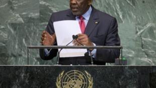 Le Premier ministre malien Cheick Modibo Diarra à la tribune de l'ONU le 26 septembre 2012.