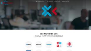 La page d'accueil du site «Les Medias francophones publics».