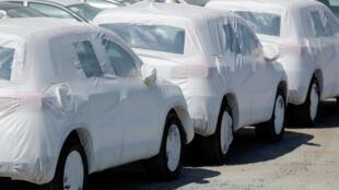Voitures Volkswagen à leur arrivée aux Etats-Unis, Chula Vista, Californie, juin 2018.