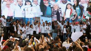 Le candidat de la FARC à l'élection présidentielle colombienne, Rodrigo Londono alias Timochenko, lance sa campagne samedi 27 à Bogota.