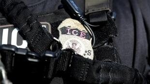 A US Immigration and Customs Enforcement badge. ICE has identified the French citizen who died in its custody this week.