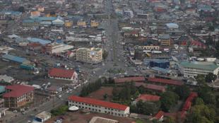 Goma, province du Nord-Kivu, RD Congo. Vue aérienne du centre urbain de Goma.